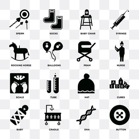 Set Of 16 icons such as Button, Dna, Cradle, Baby, Cubes, Sperm, Rocking horse, Scale, Pram on transparent background, pixel perfect Ilustração