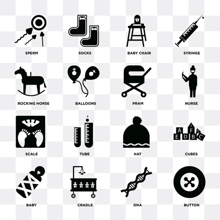 Set Of 16 icons such as Button, Dna, Cradle, Baby, Cubes, Sperm, Rocking horse, Scale, Pram on transparent background, pixel perfect Illustration