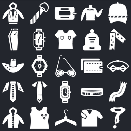Set Of 25 icons such as Scarf, Shirt, Hanger, Sleeveless, Hoodie, Wallet, Watch, Tie, Jeans, Tie on black background, web UI editable icon pack