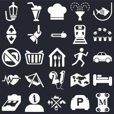 Set Of 25 simple editable icons such as Museum, Car, Graduate cap, Milk Shake, Bed 3D view, Reflector, World map, No Photo on black background, web UI icon pack Illusztráció