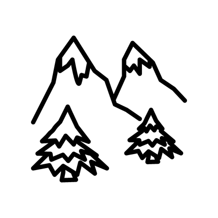 Mountain icon vector isolated on white background, Mountain transparent sign , linear symbol and stroke design elements in outline style