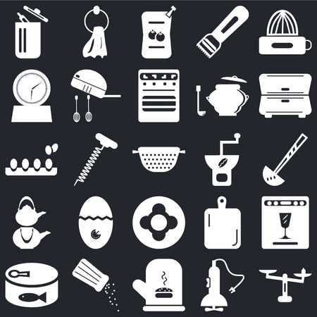 Set Of 25 icons such as Weight, Mixer, Mitten, Salt shaker, Conserve, Cabinet, Coffee grinder, Dish, Kettle, Timer, Sauces, Towel on black background, web UI editable icon pack