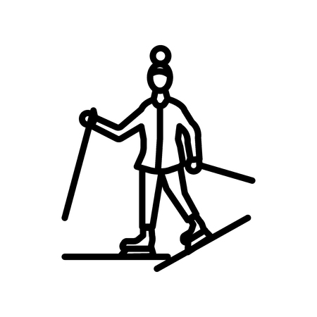 Ski icon vector isolated on white background, Ski transparent sign , linear symbol and stroke design elements in outline style Ilustracje wektorowe