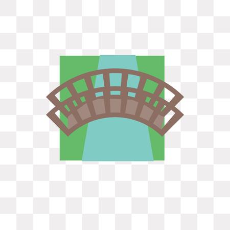 Icône de vecteur de pont isolé sur fond transparent, concept logo pont
