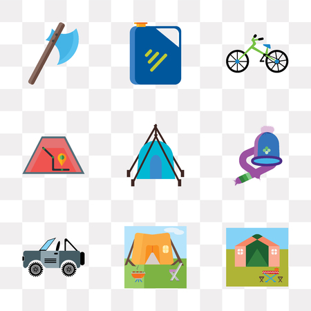 Set Of 9 simple transparency icons such as Tent, Jeep, Hat, Map, Bicycle, Jerrycan, Axe, can be used for mobile, pixel perfect vector icon pack on transparent background Stock Illustratie