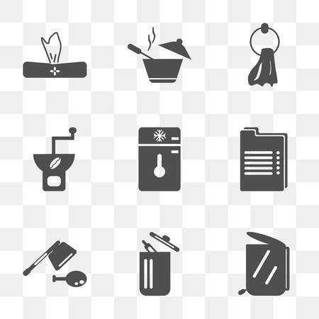 Set Of 9 simple transparency icons such as Garbage, Trash, Cleaver, Recipe, Freezer, Coffee grinder, Towel, Pot, Napkin, can be used for mobile, pixel perfect vector icon pack on transparent