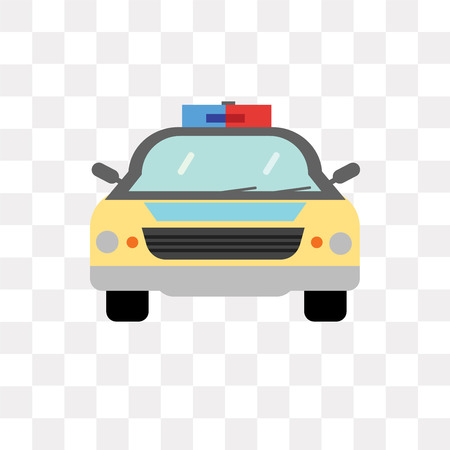 Police car vector icon isolated on transparent background, Police car logo concept Vectores