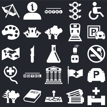 Set Of 25 icons such as Hospital, Tickets, Map, 3D Dictionary, Woods, Parking, Charger, Monument, First Aid, Painter palette, Round hotel, Information on black background, web UI editable icon pack