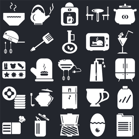 Set Of 25 icons such as Recipe, Timer, Toaster, Trash, Cocktail, Soap dispenser, Fridge, Dishes, Mixer, Coffee maker, Kettle on black background, web UI editable icon pack