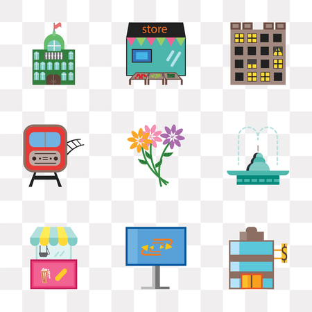 Set Of 9 simple transparency icons such as Bank, Recycling, Food cart, Fountain, Flowers, Train, Buildings, Store, City hall, can be used for mobile, pixel perfect vector icon pack on transparent