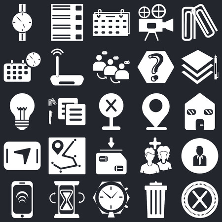 Set Of 25 icons such as Multiply, Garbage, Alarm clock, Hourglass, Smartphone, Layers, Placeholder, Save, Navigation, Calendar, Menu on black background, web UI editable icon pack