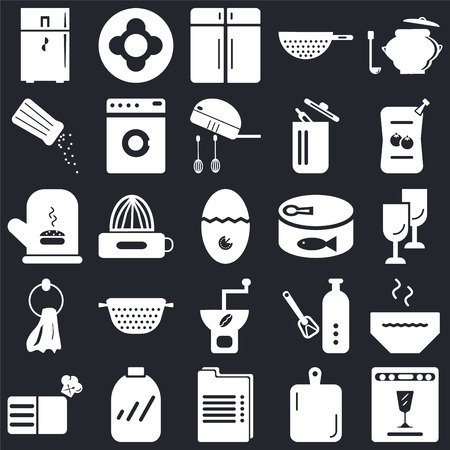 Set Of 25 icons such as Dishwasher, Kitchen board, Recipe, Conserve, Sauces, Coffee grinder, Towel, Salt shaker, Cabinet, Dish on black background, web UI editable icon pack Stock Illustratie
