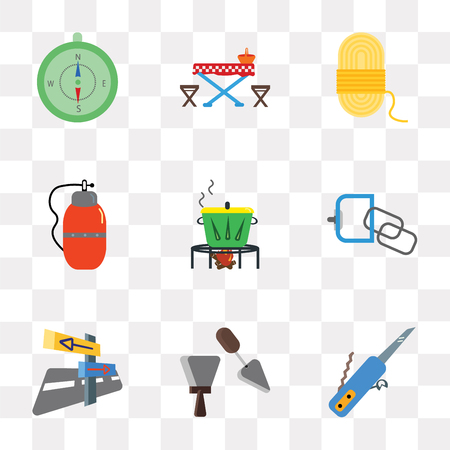 Set Of 9 simple transparency icons such as Swiss knife, Spatula, Panels, Carabiner, Pot, Canteen, Rope, Picnic table, Compass, can be used for mobile, pixel perfect vector icon pack on transparent Illustration
