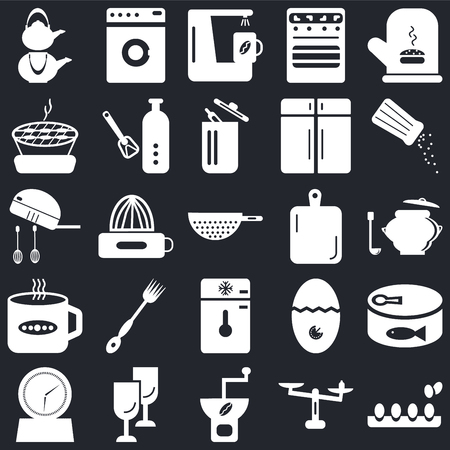Set Of 25 icons such as Eggs, Weight, Coffee grinder, Glass, Timer, Salt shaker, Kitchen board, Freezer, Tea cup, Barbecue, maker, Washing machine on black background, web UI editable icon pack