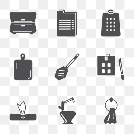 Set Of 9 simple transparency icons such as Towel, Tap, Napkin, Kitchen board, Paddle, Grater, Recipe, Cabinet, can be used for mobile, pixel perfect vector icon pack on transparent