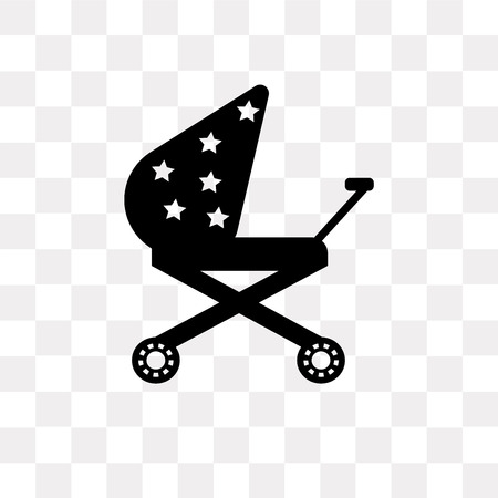 Stroller vector icon isolated on transparent background, Stroller logo concept