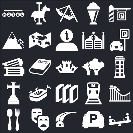 Set Of 25 simple editable icons such as Children on teeter totter, Phone box, Parking, Carousel horse, Cutlery, World map, Metro, Tickets black background, web UI icon pack