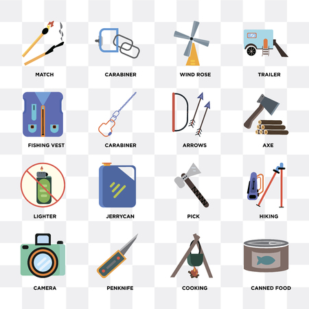 Set Of 16 icons such as Canned food, Cooking, Penknife, Camera, Hiking, Match, Fishing vest, Lighter, Arrows on transparent background, pixel perfect