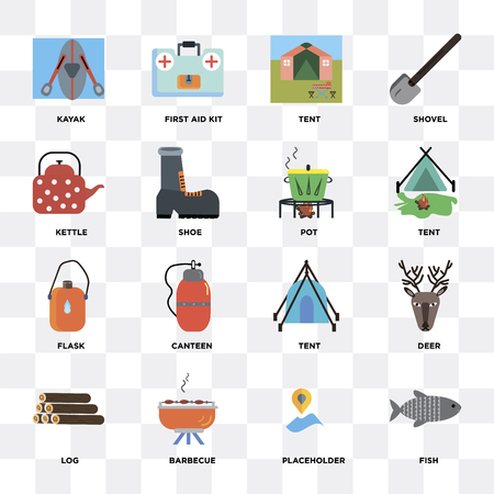 Set Of 16 icons such as Fish, Placeholder, Barbecue, Log, Deer, Kayak, Kettle, Flask, Pot on transparent background, pixel perfect
