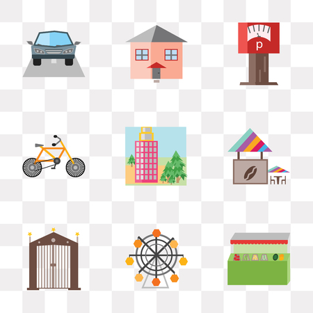 Set Of 9 simple transparency icons such as Grocery store, Wheel, Gate, Coffee shop, Building, Bicycle, Parking meter, House, Car, can be used for mobile, pixel perfect vector icon pack on transparent
