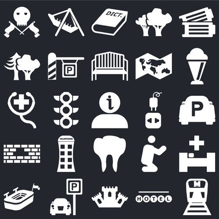 Set Of 25 simple editable icons such as Metro, Parking, Ice Cream, Amusement Park, Big stadium, Praying, First Aid on black background, web UI icon pack
