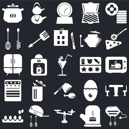 Conjunto de 25 iconos como batidora, manopla, peso, huevos, cortador de pizza, moldeado, cuchilla, horno, temporizador, hervidor sobre fondo negro, paquete de iconos editables de la interfaz de usuario web