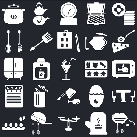 Set Of 25 icons such as Mixer, Mitten, Weight, Eggs, Pizza cutter, Molded, Cleaver, Oven, Timer, Kettle on black background, web UI editable icon pack