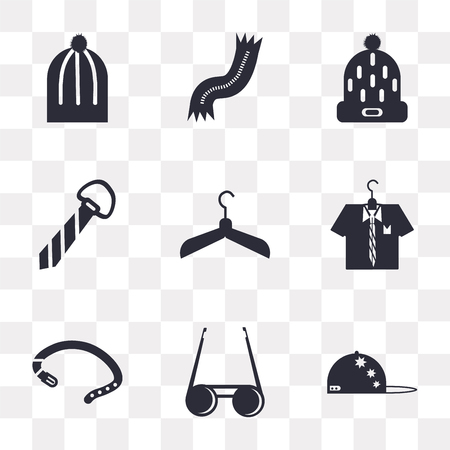 Set Of 9 simple transparency icons such as Baseball cap, Sunglasses, Belt, Shirt, Hanger, Tie, Winter hat, Scarf, can be used for mobile, pixel perfect vector icon pack on transparent
