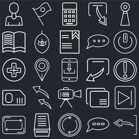 Set Of 25 simple editable icons such as Undo Arrow, Exclamation mark, Button on off, Flag waving, Refresh button, Watch dark eye, Overlay, Add black background, web UI icon pack