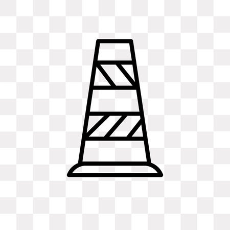 Traffic cone vector icon isolated on transparent background, Traffic cone logo concept Illustration