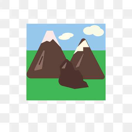 Mountains vector icon isolated on transparent background, Mountains logo concept 일러스트