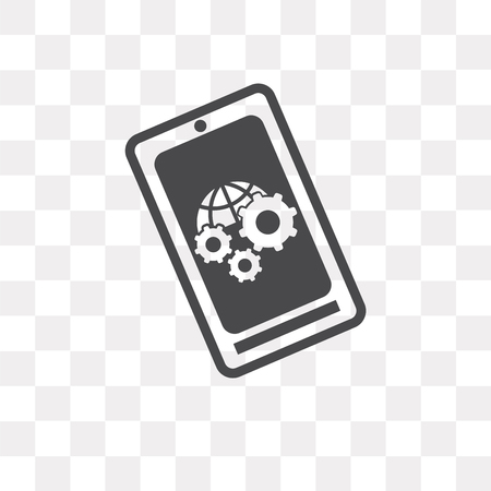 Smartphone vector icon isolated on transparent background, Smartphone logo concept Vettoriali