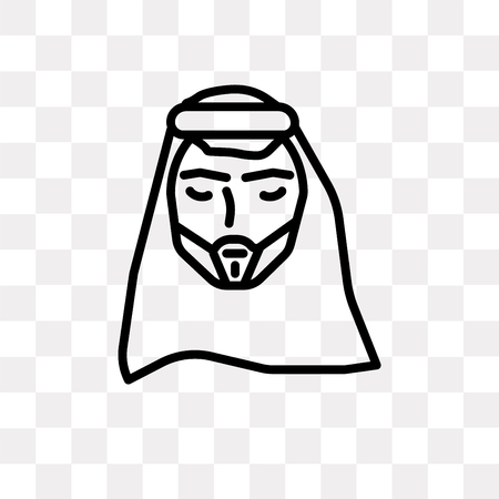 Arab Man vector icon isolated on transparent background, Arab Man logo concept