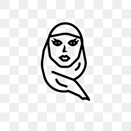 Woman with Hijab vector icon isolated on transparent background, Woman with Hijab logo concept Illustration