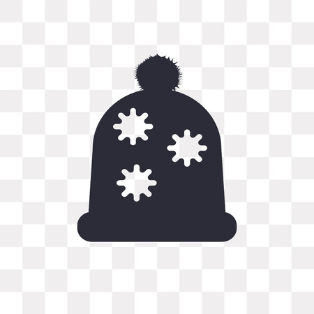 Winter hat vector icon isolated on transparent background, Winter hat logo concept