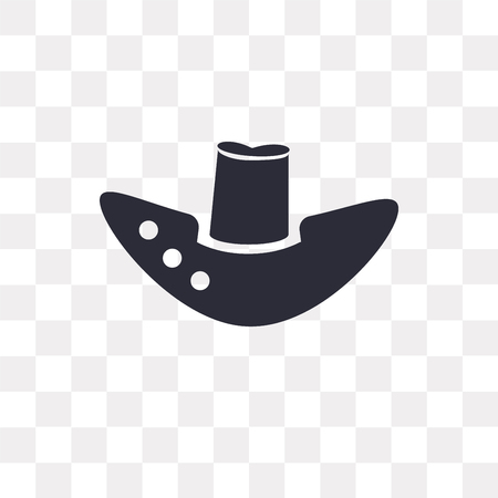Fedora hat vector icon isolated on transparent background, Fedora hat logo concept