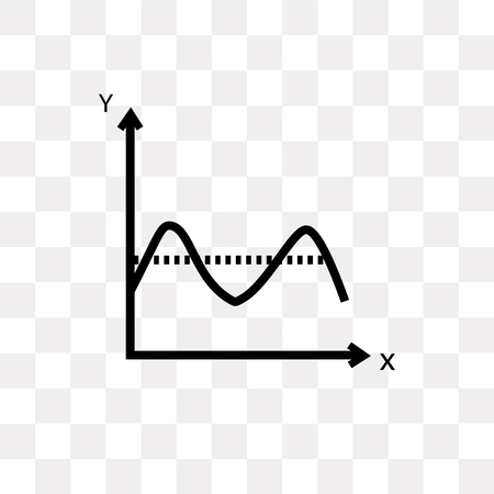 Icône de vecteur sinusoïde isolé sur fond transparent, concept logo sinusoïde