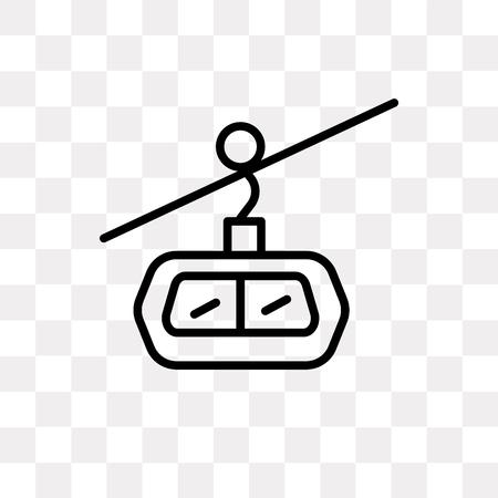Icône de vecteur de cabine de téléphérique isolé sur fond transparent, concept de logo de cabine de téléphérique Logo