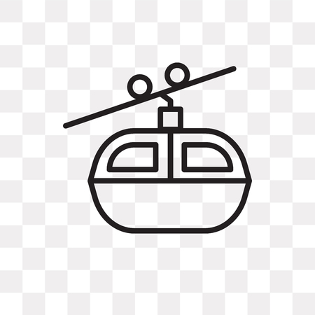 Kabelbaan vector pictogram geïsoleerd op transparante achtergrond, kabelbaan logo concept Logo