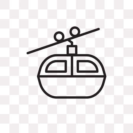Seilbahnvektorikone lokalisiert auf transparentem Hintergrund, Seilbahnlogokonzept Logo