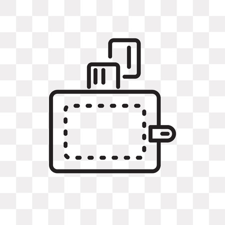 Wallet vector icon isolated on transparent background, Wallet logo concept