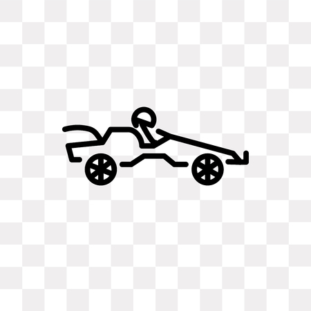 Go kart vector icon isolated on transparent background, Go kart logo concept