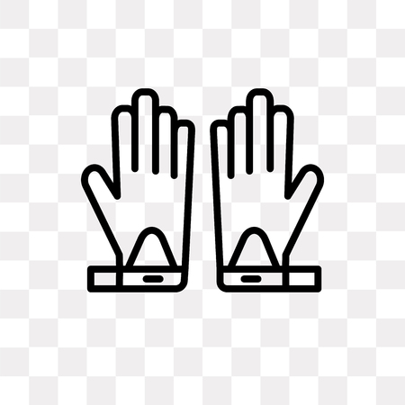 Glove vector icon isolated on transparent background, Glove logo concept Vectores