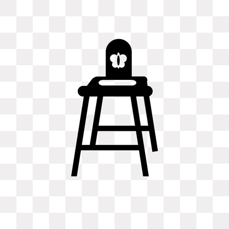 Baby chair vector icon isolated on transparent background, Baby chair logo concept
