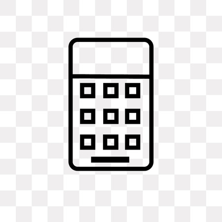 Calculator vector icon isolated on transparent background, Calculator logo concept Illustration
