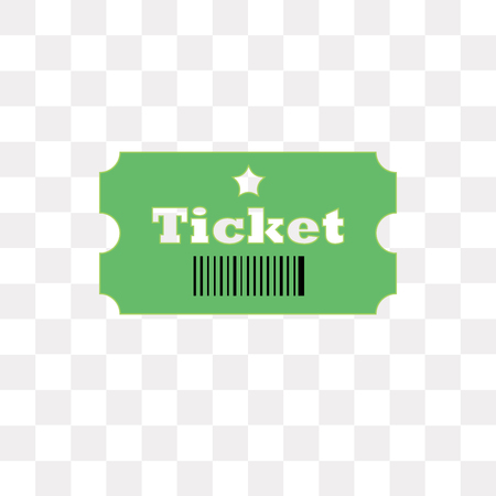 Ticket vector icon isolated on transparent background, Ticket logo concept Illustration