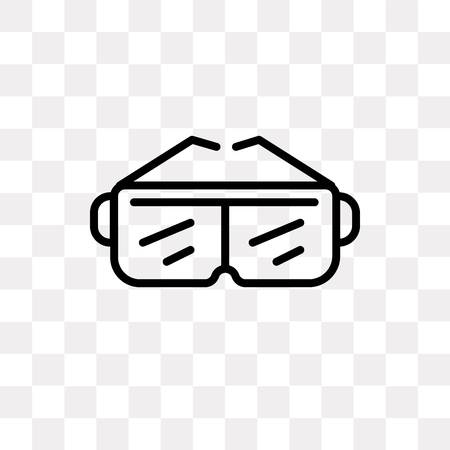 Goggles vector icon isolated on transparent background, Goggles logo concept