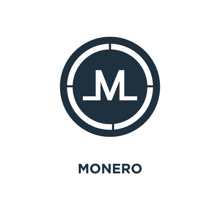 Monero icon. Black filled vector illustration. Monero symbol on white background. Can be used in web and mobile.