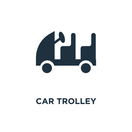 Car Trolley icon. Black filled vector illustration. Car Trolley symbol on white background. Can be used in web and mobile. Illustration