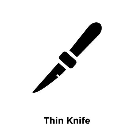 Thin Knife icon vector isolated on white background, logo concept of Thin Knife sign on transparent background, filled black symbol 矢量图像